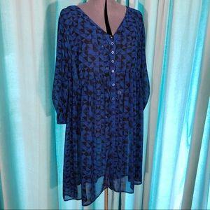 Torrid Triangle Print Sheer Black & Blue Dress 2x
